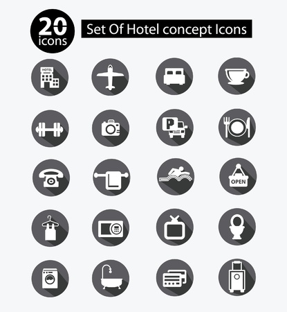 Hotel icon set,Black version Vector