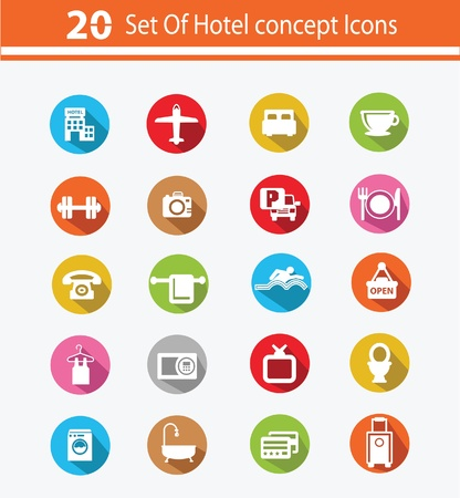 sleeping car: Hotel icon set,Colorful version