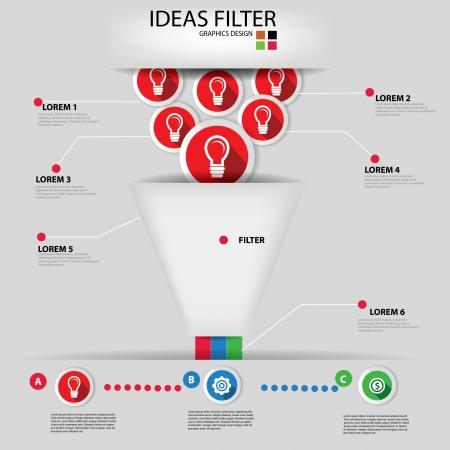 Ideas filter,Business concept,Graphics design Vector
