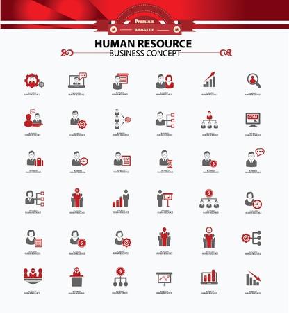 corporate hierarchy: Delle risorse umane, concetto di business, le icone, la versione rossa Vettoriali