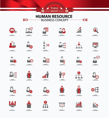 human resources strategy: Human resource,business concept,icons,red version