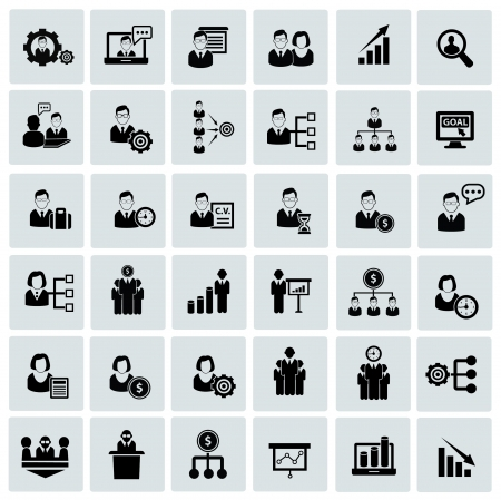 Human resource,business concept,icons,black version Stock Vector - 22090058