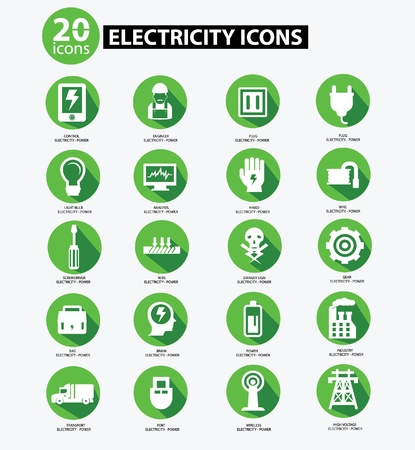 electricity icon: Electricity icon collection,Green version Illustration
