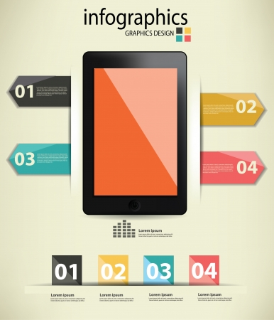 Blank Mobile phone,Infographics design,Vintage style Vector