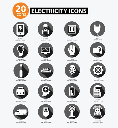 cable cutter: Electricity icon collection,Gray version Illustration