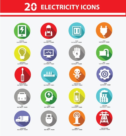 electrical tower: Electricity icon collection,Colorful version