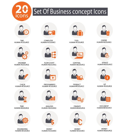 Management and Business Icons,Human resource,Orange version on white background,vector Stock Vector - 22098254