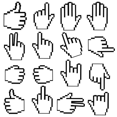 Pixel Hand cursor on White background,vector Vector