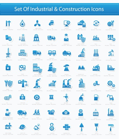 Industrial icon set, versione blu, vettore Vettoriali