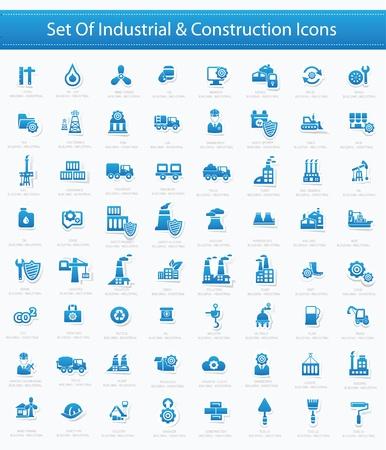 Przemysłowy zestaw ikon, wersja niebieska, wektor Ilustracje wektorowe