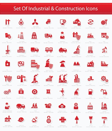 industrial icon: Industrial icon set,Red version,vector Illustration
