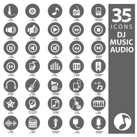 sub woofer: Dj,Music and Audio icons,vector