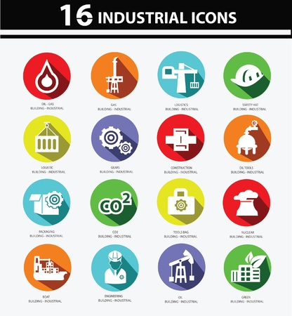 Industrial,Factory, plants and pollution icons,Colorful version Stock Vector - 22098285