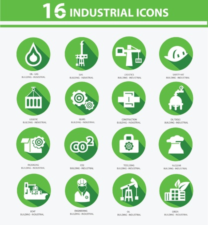 Industrial,Factory, plants and pollution icons,Green version Stock Vector - 22098286