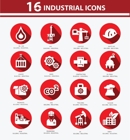 Industrial,Factory, plants and pollution icons,Red version Vector