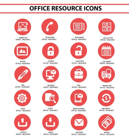 Office resource icons,Red circle version,vector Vector