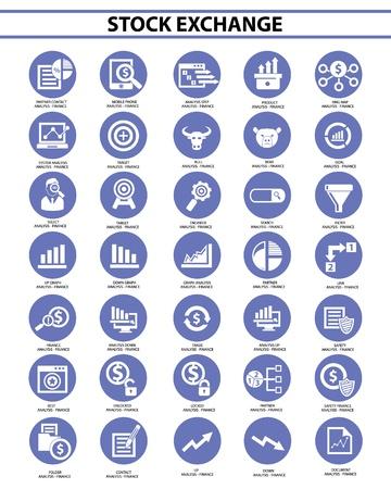 Stock exchange icon set,Blue version,vector