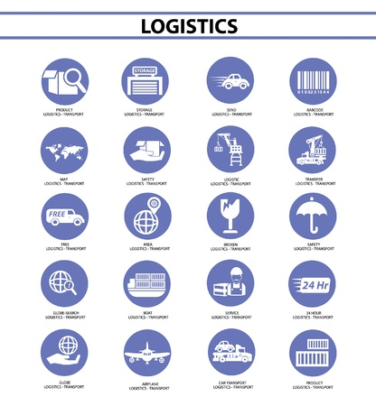 avia: Logistics icons,Blue circle version,vector Illustration