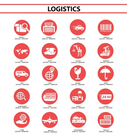 Logistics icons,Red circle version,vector Vector