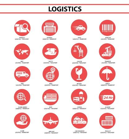 avia: Logistics icons,Red circle version,vector