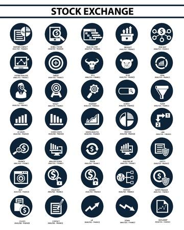 bolsa de valores: Bolsa icon set, vector Vectores