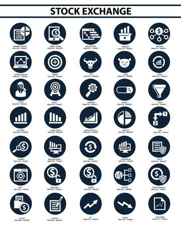 stock clip art icon: Stock exchange icon set,vector