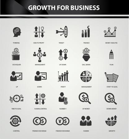 risico analyse: Groei-, Financie-en analyse pictogrammen, Black versie