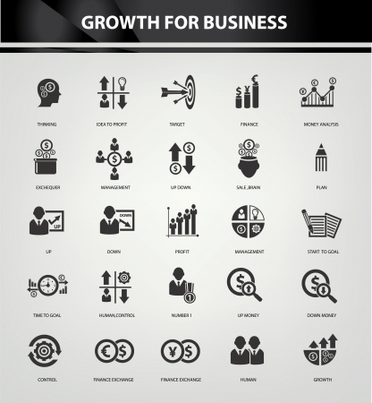 financial item: Growth, Finance and analysis icons,Black version