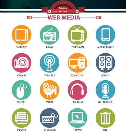Web media icons,Colorful buttons version,vector Vector