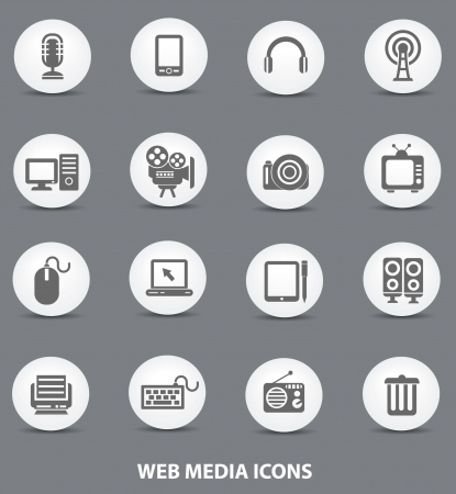 Web media icons,White buttons version,vector Stock Vector - 22098353