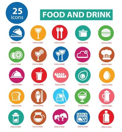 wijn en spijzen: Eten en Restaurant iconen set, kleurrijke versie, vector Stock Illustratie