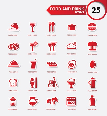 lo mein: Food and Restaurant icons set,Red version,vector