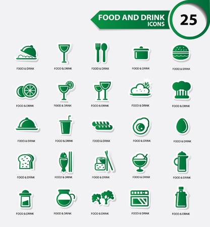 Food and Restaurant icons set,Green version,vector Illustration