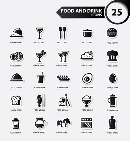continental food: Food and Restaurant icons set,Black version,vector Illustration