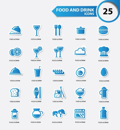Aliments et des restaurants icons set, la version bleue, vecteur Banque d'images - 22154896