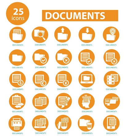 Documents icons,Yellow version,vector Illustration