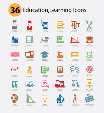 Education icon set,Colorful version