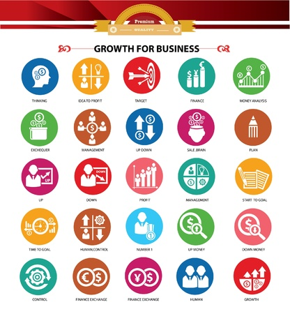 Growth, Finance and analysis icons,Colorful version Vector