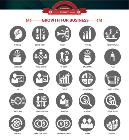 risk management: Growth, Finance and analysis icons,Gray version