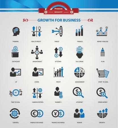 signo pesos: Crecimiento, Finanzas y an�lisis iconos, versi�n azul, vector