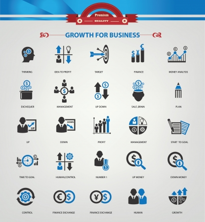 Growth, Finance and analysis icons,Blue version,vector Illustration