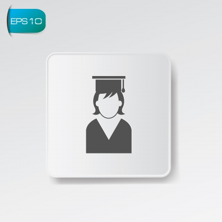 Graduation symbol on white button,vector Vector