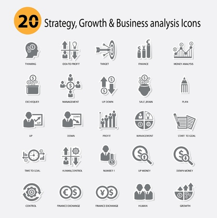 Strategy,Growth   Business analysis Icons,Gray version Illustration
