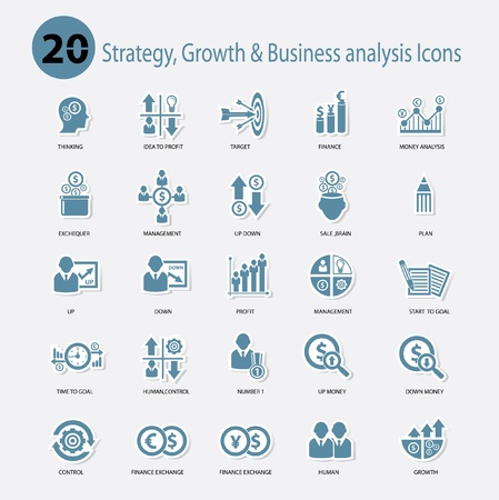 risk analysis: Strategy,Growth   Business analysis Icons,Blue version,vector Illustration