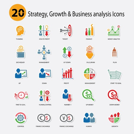 Strategy,Growth   Business analysis Icons,Colorful version,vector