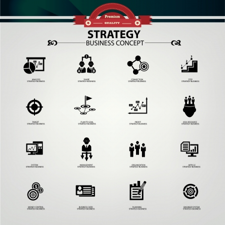 black business men: Strategy business concept icons,Black version,vector Illustration