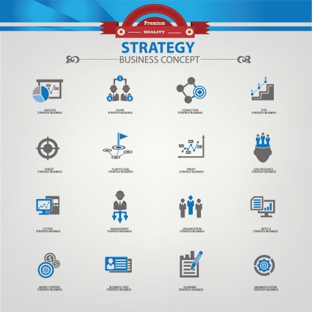 Strategy business concept icons,Blue version