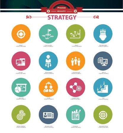 competencias laborales: Estrategia de negocios iconos de concepto, versi�n colorida Vectores
