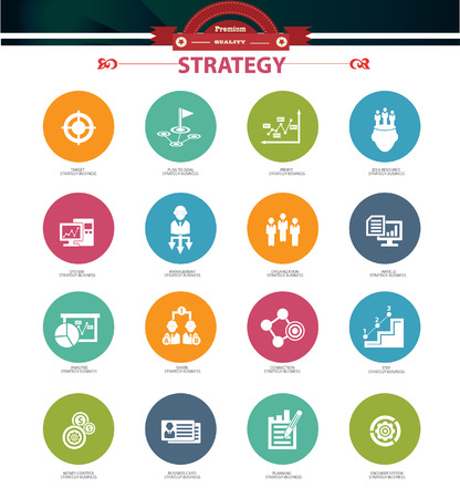 Strategy business concept icons,Colorful version Illustration