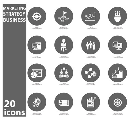 Strategy business concept icons,Circle version Vector